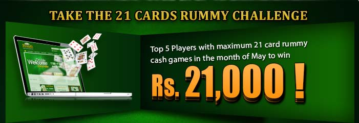 If you love to play 21 Cards Rummy, you will love the exciting new challenge at Classic Rummy! The popular online rummy site has launched a super contest to reward its players who excel in 21 Cards Rummy. The top players of the contest can earn cash prizes worth Rs.21,000! 21 Cards Rummy is an interesting variation of classic rummy games. The format of the game is far more competitive and you need a lot of skills to master the game. 21 Cards Rummy is widely played in many parts of the country and the introduction of its online version of the game makes it easily accessible for rummy lovers to play the game. Classic Rummy values this aspect of gaming tradition of 21 Cards Rummy and has launched an open contest to find out the best players of 21 Cards Rummy. The rules of the competition are fairly simple: You need to play maximum number of cash 21 Cards Rummy games during the month of May to become of the top rummy player. The top five players at Classic Rummy will share the prize pool of Rs.21,000. The player at the first position will win Rs.8000; players at second and third positions will win Rs.5000 and Rs.3500; the fourth winner will grab Rs.2500 and the player at the fifth position will win Rs.2000. So, test your skills at 21 Cards Rummy this month and get rewarded. Join the amazing challenge at Classic Rummy and win great cash prizes!